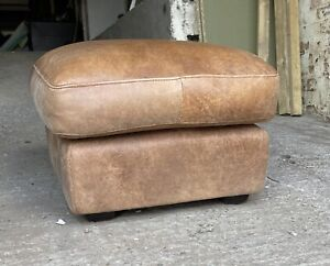 Tan Aniline Natural brown Leather footstool Pouffe UK DELIVERY AVAILABLE