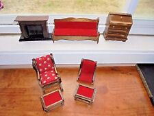Antique Wood Price Bellmar New Jersey Dollhouse Furniture Lot Parts Stool Sofa