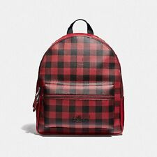 New Authentic Coach F38949 Medium Charlie Backpack in Gingham Print Red