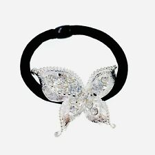 USA Butterfly Ponytail holder Elastic Rhinestone Crystal Hair Tie Rope Silver 21