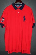 RALPH LAUREN Men's Custom Fit Polo RUGBY Shirt sz 2XL XXL Red BIG PONY
