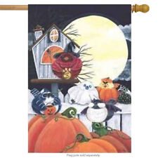 Halloween Portly Birds House Flag
