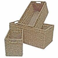 Seagrass Storage Basket Wicker Long Shelf Drawer, Kitchen Bedroom & Home Living