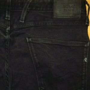 ORIGINAL REPLAY ANBASS JEANS SLIM FIT SKINNY BLACK 33/32 SCHWARZ HYPERFLEX