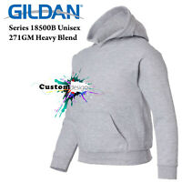 Gildan Sport Grey Hoodie Heavy Basic Hooded Sweater Boy Girl Youth Kids