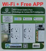 2-Pack WiFi Receptacle Smart Outlet Work w/ Alexa & Google Assistant Free APP