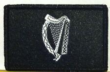 Ireland Irish Harp Flag Patch W/ VELCRO Brand Fastener Black & White Version #1