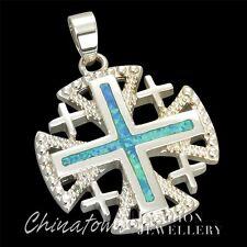 Jerusalem Cross Ocean Blue Fire Opal Inlay Silver Jewelry Necklace Pendant