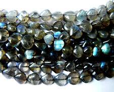 "Labradorite Gemstone Heart Beads 14"" strands 6-8mm flashy"