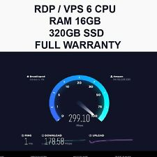 RDP - VPS 6 CPU 16GB RAM 200GB SSD FULL WARRANTY