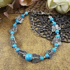 Turquoise Tibetan Silver Chain Adjust Ethnic Bangle Butterfly Bracelet Jewelry