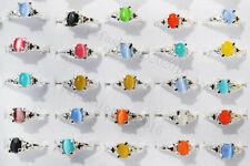 Free wholesale lots 100pcs natural Cat eye Gemstone silver tone rings jewelry