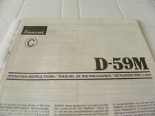 Sansui  D-59M Owner's Manual  Operating Instructions Istruzioni New