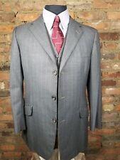 ** H. Huntsman & Sons ** Bespoke Saville Row 3-Piece Suit - Grey / Stripe 40-38R