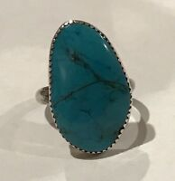 Navajo Vintage 925 Sterling Silver Turquoise Ring Size 6.75