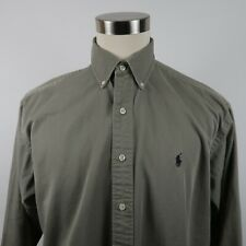 Polo Ralph Lauren Mens Heavy Blake LS Button Down Solid Taupe Dress Shirt Large