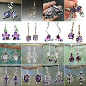 Retro 925 Silver Dangle Drop Earrings Ear Hook Amethyst Women Fashion Jewelry