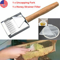 -US Bee Hive Uncapping Honey Fork Scraper Shovel Beekeeping+ Strainer Filter