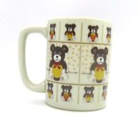 Otagiri Teddy Bear with Bow Tie Ribbon Coffee Cup Made in Japan Vintage