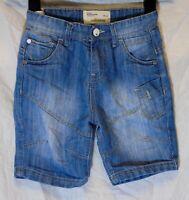 Boys Matalan Stonewashed Blue Panelled Denim Adjustable Waist Shorts Age 6 Years