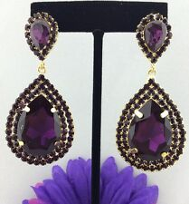 Elegant Pageant Queen with Purple Swarovski Crystals Teardrop Earrings Gold Tone
