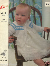 Baby Jacket  Emu Knitting Pattern No. 8134  4 & 8 Ply  Chest 19 to 21 inches