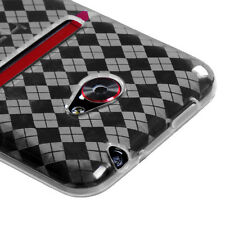 SPRINT PCS HTC EVO 4G LTE CANDY RUBBER GEL SKIN COVER CLEAR ARGYLE