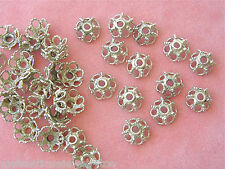 VINTAGE BALI INDONESIA STERLING SILVER ROPE GRANULATION 10mm PAIR BEAD CAPS 1980