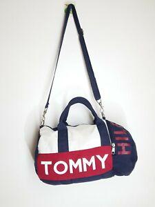 TOMMY HILFIGER Canvas Duffle Bag - Shoulder Zipper Messenger Crossbody Gym Work