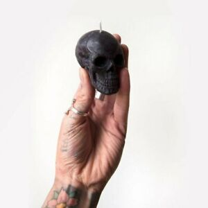 The Blackened Teeth Mini Skull Black Vanilla Handmade Vegan Soy Candle - Goth...