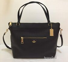 New COACH F54687 Pebble Leather Tyler Tote Shoulder Handbag Crossbody Bag Black