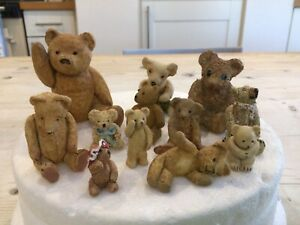 Vintage antique miniature bears,small ornamental toy teddy bears.12 bears
