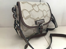 NEW CHAPS RALPH LAUREN LENOX JACQUARD KHAKI BROWN CROSSBODY SLING BAG PURSE SALE