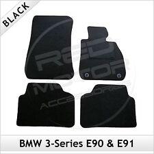 BMW 3-Series E90 E91 2005-2013 2-Clip a Medida Alfombra Alfombrillas De Coche Negro Equipada