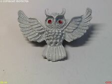 steampunk brooch badge pin owl gothic white enamel Harry Potter inspired red eye