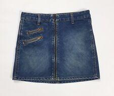 Wrangler mini gonna jeans w27 tg 41 blu zip vita bassa denim vintage usata T2434