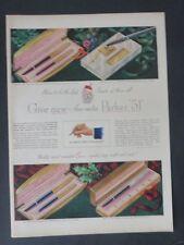 Original Print Ad 1949 PARKER 51 Pen Aero-Metric Pens Vintage Artwork