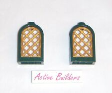 2x Lego Window Round Top Dark Green 79013 Pearl Gold Lattice Pane Castle Arch