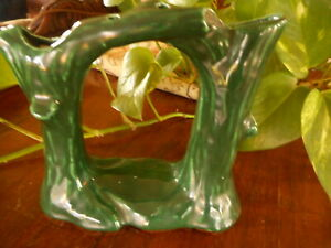 Pixie Swing Double Trunk Tree Vase Hollywood Ceramics Green Vintage Stumps
