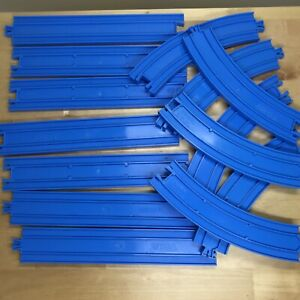 TOMY Thomas Trackmaster Blue Train Tracks lot Of 14: 7 straight, 7 curved Pieces
