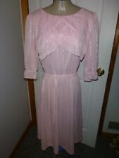 Vtg 70's Pink Ruffle Striped Secretary Dress Sz M/L