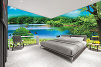 3D Butterfly Lake Spring Landscape TV Background Self adhesive Wallpaper Mural