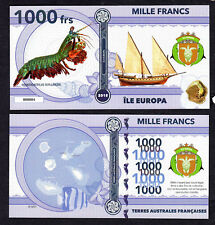 RARE ★ ILE EUROPA ● TAAF / COLONIE ● BILLET POLYMER 1000 FRANCS ★ N.SERIE 000004
