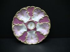 Antique LS & S Limoges France Pink Gold Gilt Oyster Plate