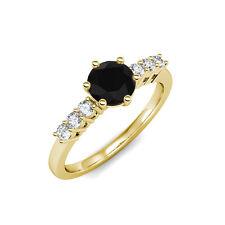 2.50 Quilate Negro AAA Diamante Novia Anillo Solitario Set 14K Oro Amarillo