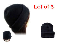 Lot of 6 Beanie  Solid Black  Unisex  Winter Cuffed Knit   Beanies Hats Caps