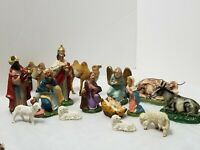 "VINTAGE 15 PC NATIVITY SET MADE PARTLY FROM ITALY AND JAPAN 2"" THRU 5.5"" FIGURES"