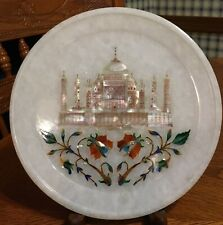 WHITE MARBLE PLATE ABALONE INLAY TAJ MAHAL PALACE FLORAL MARQUETY