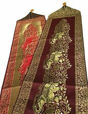 Classic Thai Silk Two Sides Table Runner Bed couple Elephants design Dark Red