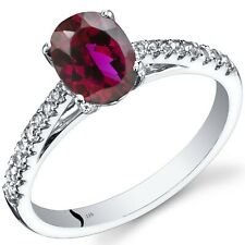 14K White Gold Created Ruby Ring Oval Cut 1.50 Cts Size 7